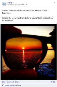 Tom's Shoes Sunglasses Facebook Post