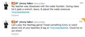 Jimmy Fallon #MyCrazyTeacher Tweet