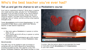 MediaBistro Twitter Contest Teacher Stories