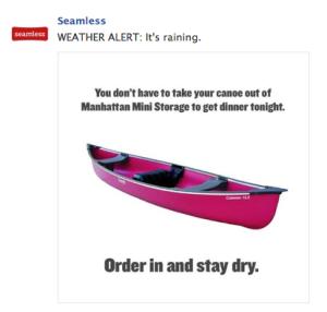 "Seamless ""It's Raining"" Facebook Post"