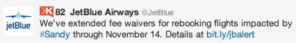 Jetblue Hurricane Sandy Twitter Response