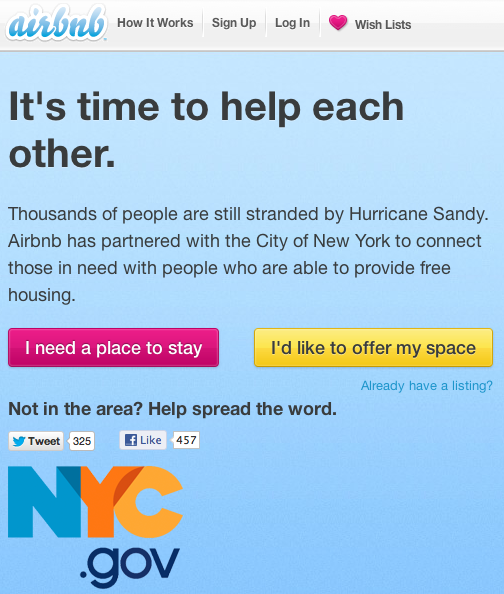 Airbnb Hurricane Sandy Relief