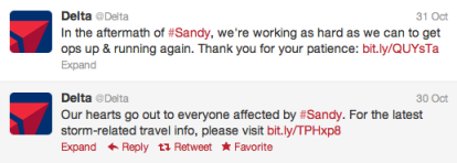 Delta Social Media Hurricane Sandy