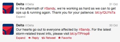 Delta Social Media Hurricane Sandy