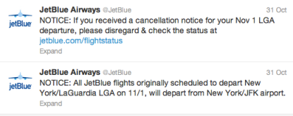 Jetblue Response to Hurricane Sandy on Twitter