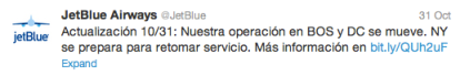 Jetblue Response to Hurricane Sandy on Twitter in Spanish