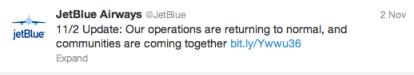 Jetblue Response to Hurricane Sandy on Twitter