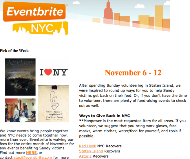 Eventbrite NYC Newsletter Hurricane Sandy Relief Events