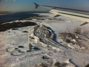 Landing in NYC Sky View and Snow