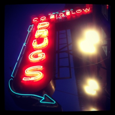 Social Hashtag Series #AboveMe Instagram Photos: CO Bigelow Pharmacy Drug Neon Sign