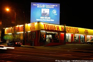 Tower Records on Sunset Boulevard, Hollywood, Los Angeles, California.